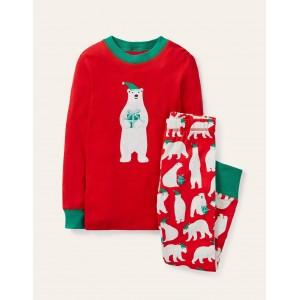Cosy Applique Long Pajamas - Hot Pepper Red Polar Bear