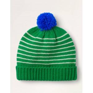 Knitted Striped Hat - Highland Green/Ecru