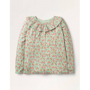 Ruffle Neck Top - Orkney Blue Vintage Posy
