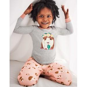 Cosy Long John Pajamas - Dusty Pink Guinea Pigs