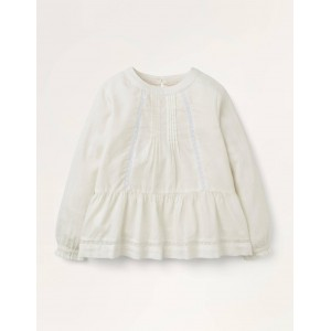 Lace Insert Woven Top - Ivory