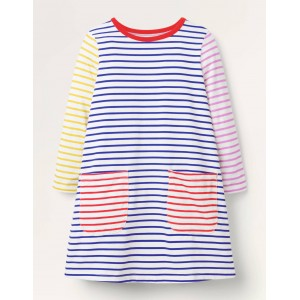 Fun Pocket Jersey Dress - Ivory/ Brilliant Blue