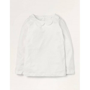 Woven Collar Jersey Top - White