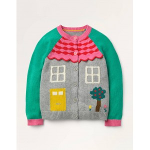 Fun House Cardigan - Grey Marl House