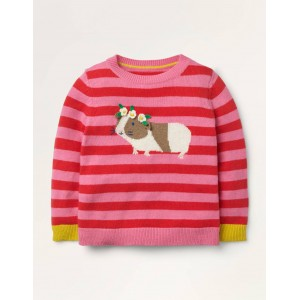 Guinea Pig Stripy Sweater - Formica Pink/ Poppy Red