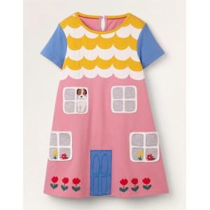 House Applique Dress - Formica Pink
