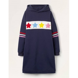 Cosy Hooded Jersey Dress - Starboard Blue Stars