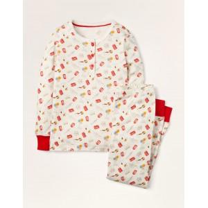 Snug Henley Pajama Set - Ivory Royal Sprout