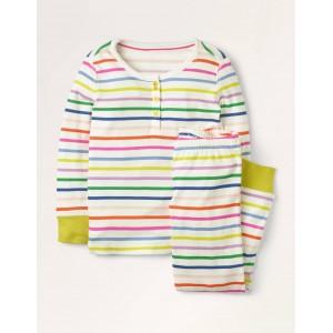 Snug Henley Pajama Set - Shocking Pink Multistripe