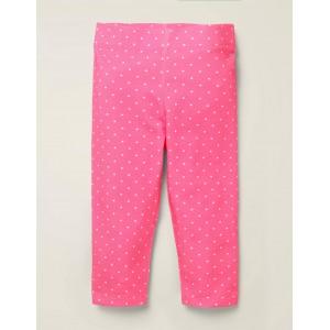 Fun Cropped Leggings - Bright Camellia Pink Pin Spot