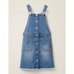 Button Through Overall Dress - Mid Vintage Denim