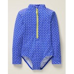 Long-sleeved Swimsuit - Bright Blue Diamond Geo