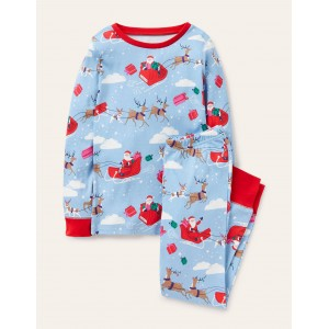Cosy Long John Pajamas - Frost Blue Father Christmas