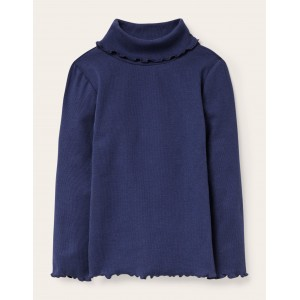 Ruffle Roll Neck T-shirt - Starboard Blue