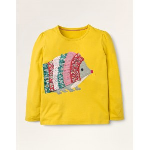 Ruffle Applique T-shirt - Honeycomb Yellow Hedgehog
