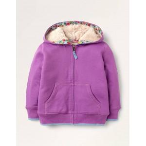 Shaggy-lined Hoodie - Light Clover Purple