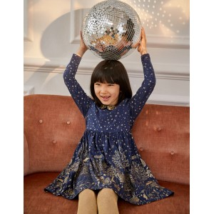 Sparkle Collar Party Dress - Navy and Gold Foil Woodland