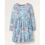 Long Sleeve Fun Jersey Dress - Frosted Blue Woodland Scene
