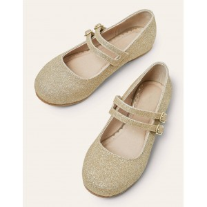 Double Strap Party Shoes - Gold Metallic