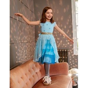 Tiered Tulle Party Dress - Light Celeste Blue Stars