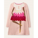 Festive Big Applique Dress - Boto Pink Ballerina