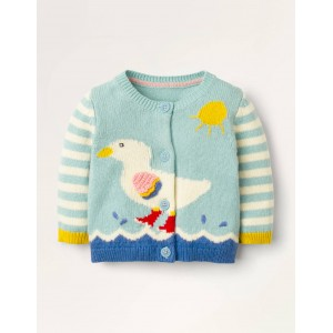 Fun Knitted Cardigan - Light Frosted Blue Duck