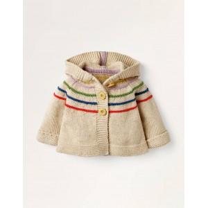 Hooded Knitted Jacket - Ecru Marl Rainbow