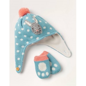 Baby Bunny Hat & Mittens Set - Frost Blue