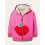 Shaggy-lined Applique Hoodie - Tickled Pink Apple