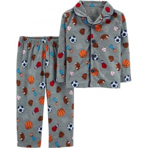 2-Piece Sports Print Lightweight Fleece PJs