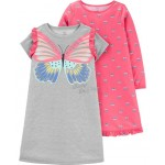 2-Pack Butterfly Nightgowns