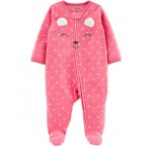 Polka Dot Bear Zip-Up Fleece Sleep & Play