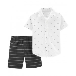 2-Piece Paper Airplane Button-Front Top  Striped Short Set