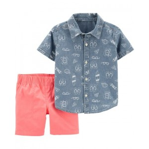 2-Piece Beach Chambray Button-Front Top  Canvas Short Set