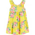 Tropical Floral Ruffle Dress