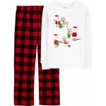 2-Piece Santa Christmas Fleece PJs