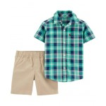 2-Piece Plaid Button-Front Top  Khaki Short Set