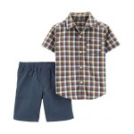 2-Piece Plaid Button-Front Top  Canvas Short Set
