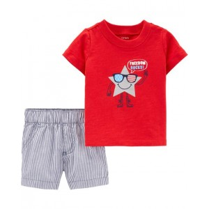 2-Piece 4th Of July Tee  Striped Short Set