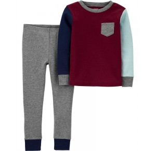 2-Piece Colorblock Snug Fit Cotton PJs