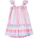 Flutter Sleeve Striped Dress