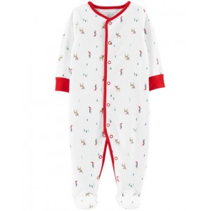 Certified Organic Cotton Christmas Snap-Up Sleep  Play