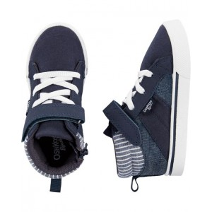 OshKosh Navy Striped High-Top Sneakers