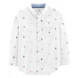 Sailboat Oxford Button-Front Shirt