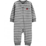 Striped Zip-Up Cotton Footless Sleep  Play