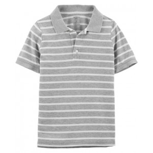 Striped Jersey Polo, Navy
