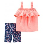 2-Piece Neon Tank  Floral Tumbling Short Set