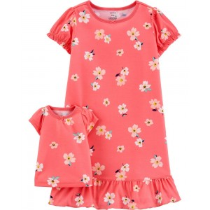 Floral Matching Nightgown & Doll Nightgown Set