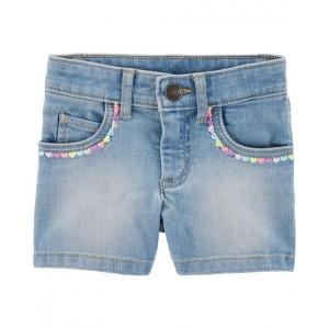 Sequin 5-Pocket Denim Shorts