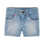 Sequin 5-Pocket Denim Shorts